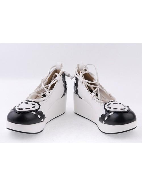 "Black & White 2.4"" High Heel Elegant Patent Leather Scalloped Criss Cross Lace Tie Platform Girls Lolita Shoes"