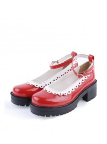 "Red 2.2"" High Heel Gorgeous Polyurethane Round Toe Ankle Straps Platform Girls Lolita Shoes"
