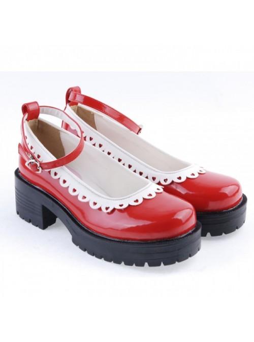"Red 2.2"" High Heel Gorgeous Polyurethane Round Toe Ankle Straps Platform Girls Lolita Shoes"