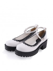 "White2.2"" High Heel Glamorous Synthetic Leather Round Toe Ankle Straps Platform Girls Lolita Shoes"