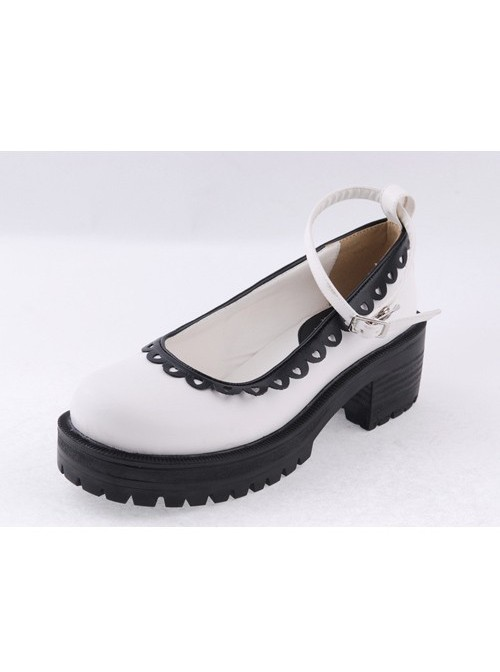 """White2.2"""" High Heel Glamorous Synthetic Leather Round Toe Ankle Straps Platform Girls Lolita Shoes"""