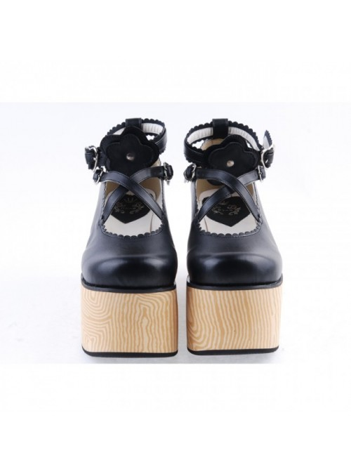 "Black 3.9"" High Heel Lovely Patent Leather Cross Straps Flower Decoration Platform Girls Lolita Shoes"