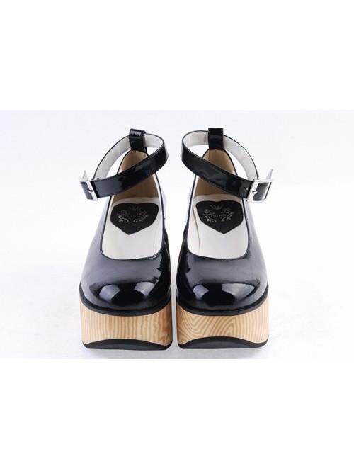 "Black 3.1"" High Heel Adorable PU Pointed Toe Ankle Straps Platform Girls Lolita Shoes"