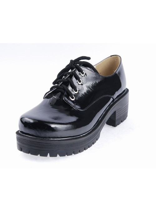 """Black 2.2"""" High Heel Cute Patent Leather Round Toe Military Style Platform Girls Lolita Shoes"""