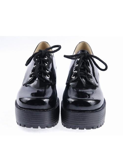 "Black 3.1"" High Heel Classic Polyurethane Round Toe Army Style Platform Girls Lolita Shoes"