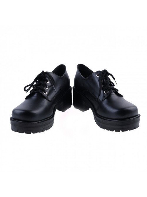 """Black 2"""" High Heel Beautiful Synthetic Leather Round Toe Military Style Platform Girls Lolita Shoes"""