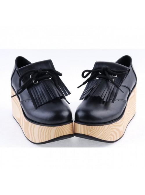 "Black 3.1"" High Heel Stylish PU Rocking HorseLace Tie Platform Girls Lolita Shoes"