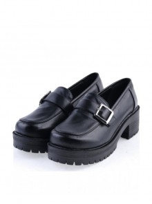 "Black 2.2"" High Heel Charming Synthetic Leather Buckle Strap Platform Girls Lolita Shoes"
