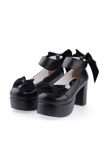 "Black 3.1"" High Heel Sexy PU Round Toe Ankle Straps Bow Decoration Platform Girls Lolita Shoes"
