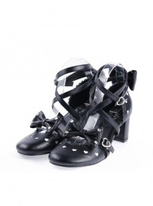 "Black 2.6"" High Heel Elegant Patent Leather Pointed Toe Criss Cross Straps Bow Decoration Platform Girls Lolita Shoes"