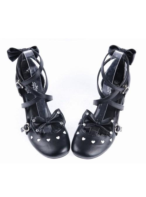 "Black 2.6"" High Heel Elegant Patent Leather Pointed Toe Criss Cross Straps Bow Decoration Platform Girls Lolita Shoes"