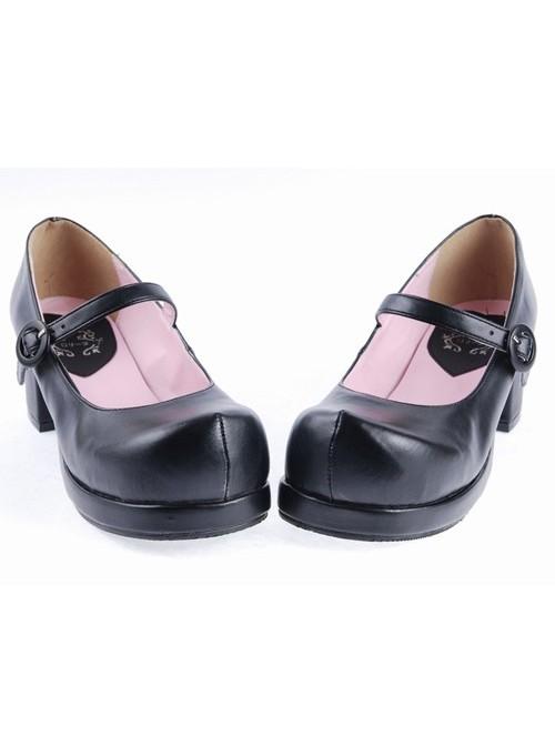 "Black 1.8"" High Heel Gorgeous Polyurethane Wedge Toe Strap Platform Girls Lolita Shoes"