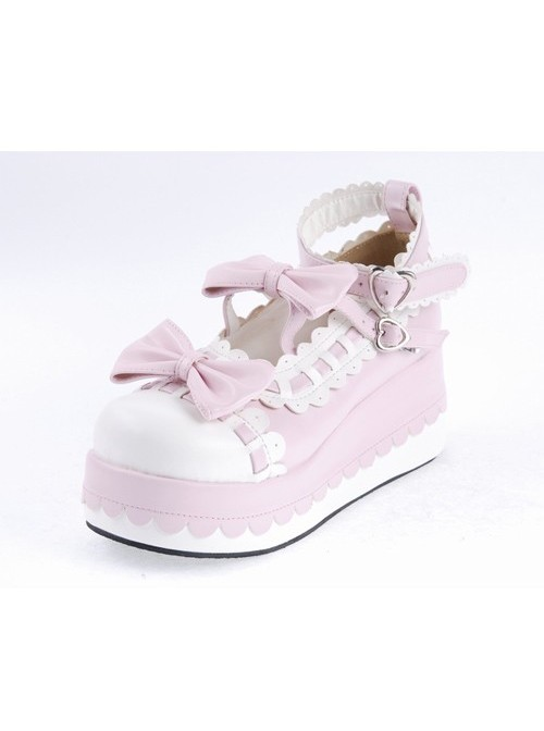 """Pink 2.8"""" High Heel Glamorous Synthetic Leather Round Toe Ankle Straps Bow Decoration Platform Girls Lolita Shoes"""