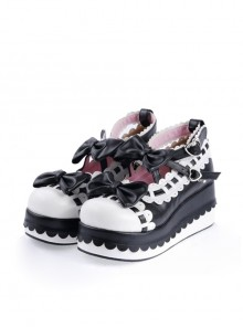 "Black & White 2.8"" High Heel Romantic PU Round Toe Ankle Straps Bow Decoration Platform Girls Lolita Shoes"