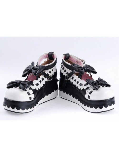 "Black & White 2.8"" High Heel Romantic PU Round Toe Ankle Straps Bow Decoration Platform Girls Lolita Shoes"