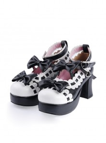 "Black & White 2.8"" High Heel Lovely Patent Leather Round Toe Ankle Straps Bow Decoration Platform Girls Lolita Shoes"