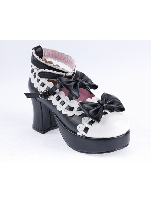 """Black & White 2.8"""" High Heel Lovely Patent Leather Round Toe Ankle Straps Bow Decoration Platform Girls Lolita Shoes"""