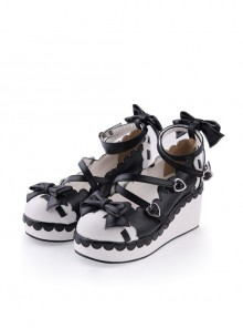 "Black & White2.8"" High Heel Adorable Polyurethane Round Toe Criss Cross Straps Platform Girls Lolita Shoes"