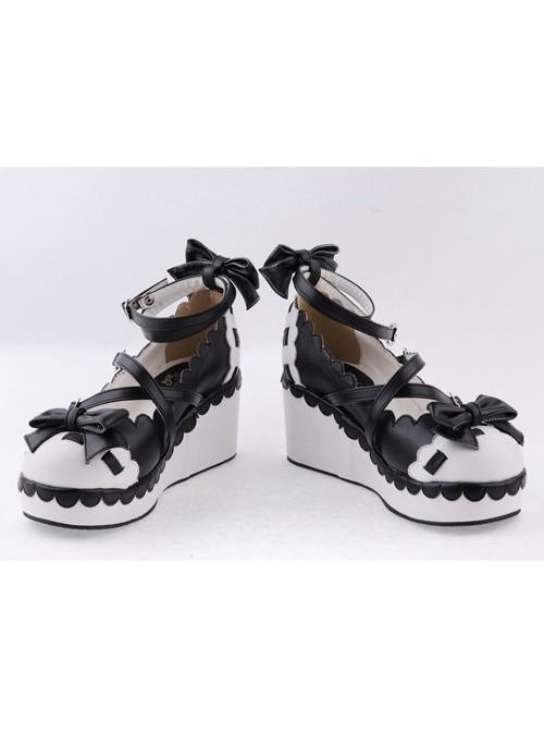 "Black & White2.8"" High Heel Adorable Polyurethane Round Toe Criss Cross Straps Platform Girls Lolita Shoes"