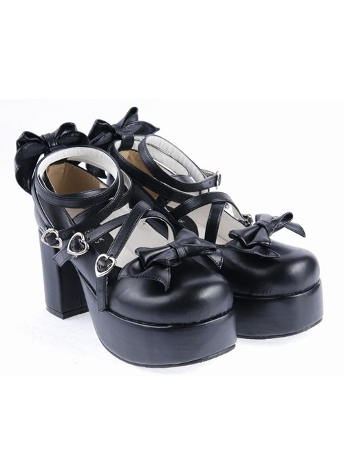 """Black 3.1"""" High Heel Lovely Synthetic Leather Criss Cross Straps Bow Decoration Platform Girls Lolita Shoes"""
