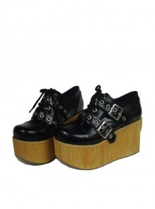 "Black 3.7"" Heel High Lovely Patent Leather Round Toe Cross Straps Platform Girls Lolita Shoes"