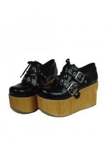 "Black 3.7"" Heel High Lovely Patent Leather Round Toe Cross Straps Platform Girls Lolita Shoes"