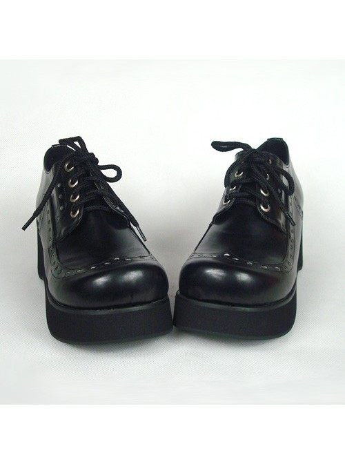 "Black 2.4"" Heel High Adorable Patent Leather Round Toe Lace Tie Platform Lady Lolita Shoes"