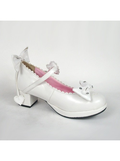 "White 1.8"" Heel High Lovely PU Point Toe Bow Decoration Platform Girls Lolita Shoes"