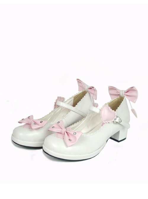 """White & Pink 1.8"""" Heel High Cute Suede Point Toe Bowknot Platform Girls Lolita Shoes"""