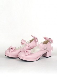 "Pink 1.8"" Heel High Gorgeous PU Point Toe Bow Decoration Platform Girls Lolita Shoes"