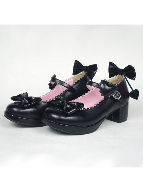 """Black 1.8"""" Heel High Romatic Synthetic Leather Point Toe Bow Decoration Platform Girls Lolita Shoes"""