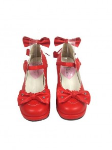 "Red 1.8"" Heel High Cute PU Point Toe Bowknot Platform Girls Lolita Shoes"