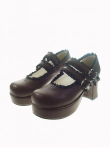 "Brown 2.9"" Heel High Classic Polyurethane Round Toe Cross Straps Platform Lady Lolita Shoes"