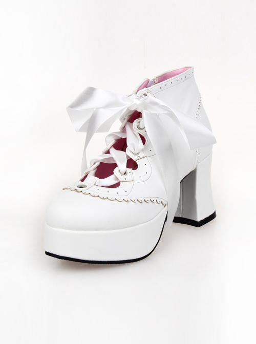 """White 2.9"""" Heel High Special Synthetic Leather Round Toe Ankle Straps Platform Girls Lolita Shoes"""