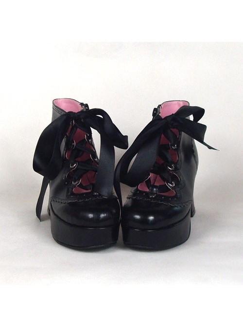 "Black 2.9"" Heel High Cute PU Round Toe Ankle Straps Platform Girls Lolita Shoes"
