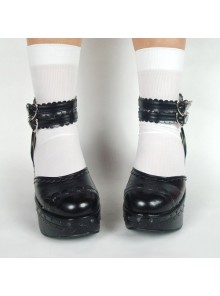 "Black 3.1"" Heel High Stylish Suede Round Toe Ankle Straps Platform Girls Lolita Shoes"
