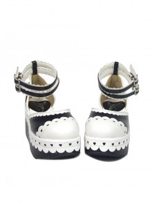 "Black & White 3.1"" Heel High Cute PU Round Toe Ankle Straps Platform Girls Lolita Shoes"