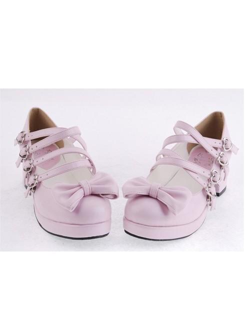 "Pink 1.8"" Heel High Cute Point Toe Bow Decoration Platform Girls Lolita Shoes"