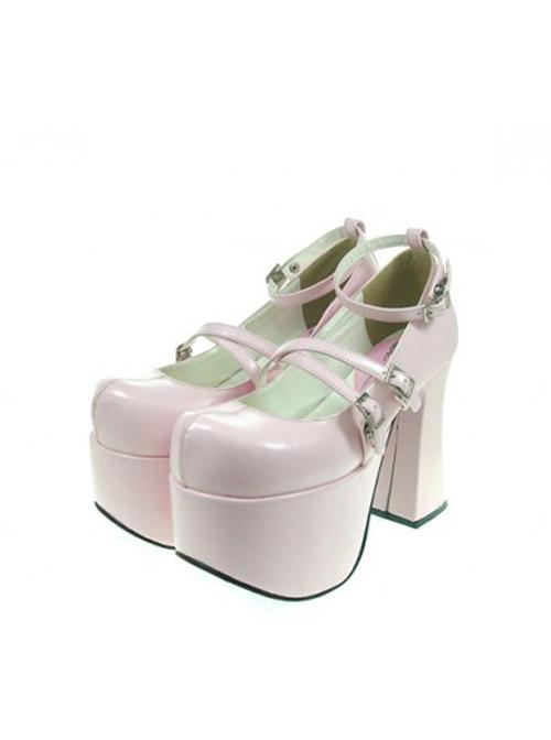 "Pink 4.9"" Heel High Adorable Polyurethane Round Toe Scalloped Platform Girls Lolita Shoes"