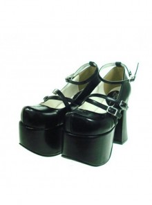"Black 4.9"" Heel High Stylish Synthetic Leather Round Toe Scalloped Platform Girls Lolita Shoes"