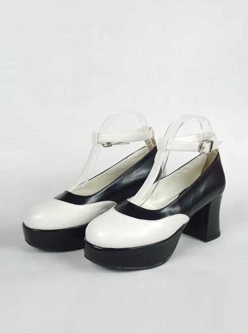 "Black & White 2.9"" Heel High Stylish Suede Round Toe Ankle Straps Platform Girls Lolita Shoes"