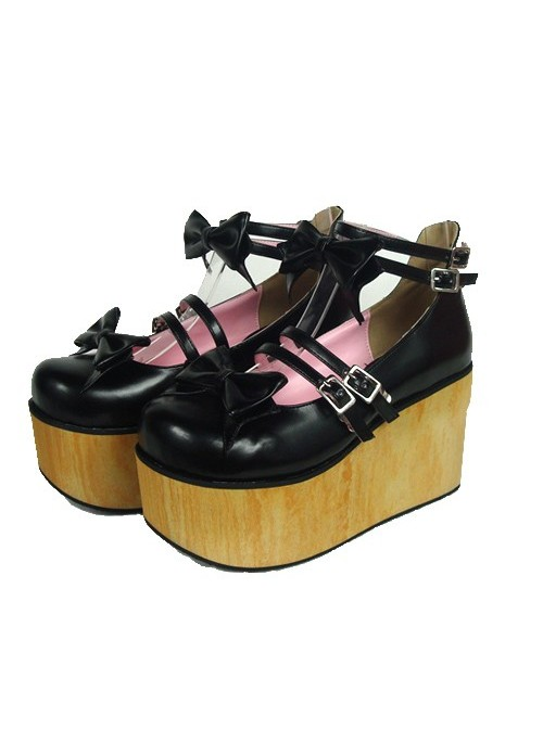"Black 3.7"" Heel High Stylish Suede Round Toe Bow Decoration Platform Lady Lolita Shoes"