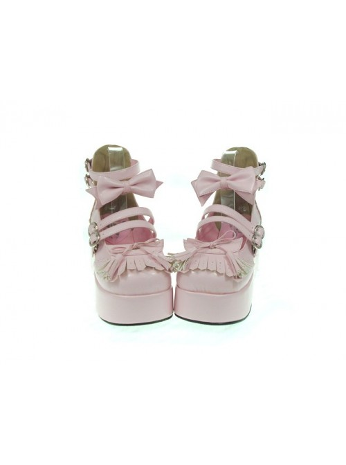 """Pink 2.8"""" Heel High Gorgeous Synthetic Leather Round Toe Bow Decoration Platform Lady Lolita Shoes"""