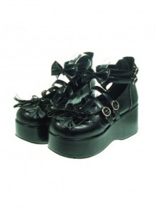 "Black 2.8"" Heel High Lovely Patent Leather Round Toe Bow Decoration Platform Lady Lolita Shoes"