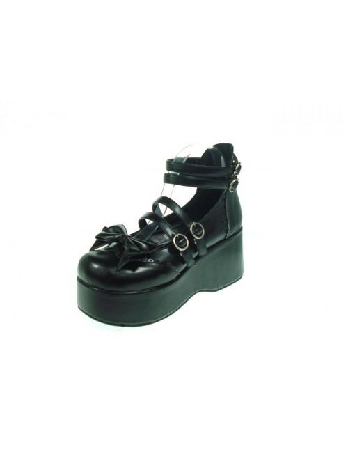"Black 2.8"" Heel High Lovely Patent Leather Round Toe Bow Decoration Platform Lady Lolita Shoes"