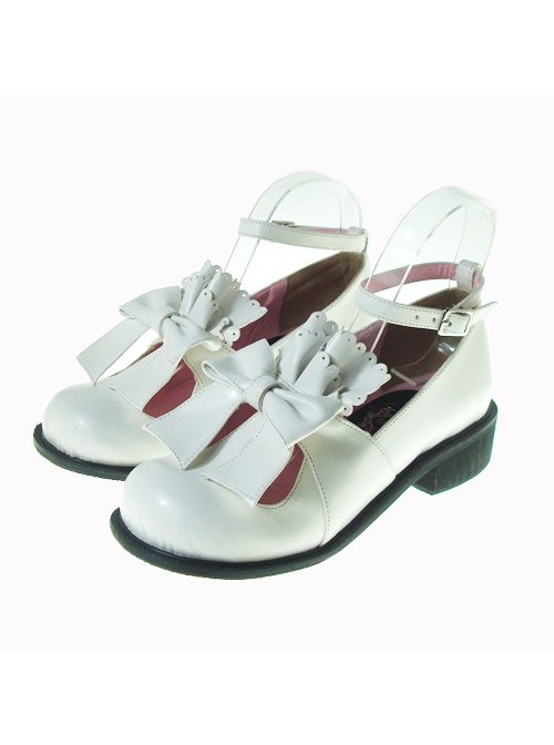 """White 1.4"""" Heel High Romatic Suede Round Toe Bow Decoration Platform Lady Lolita Shoes"""