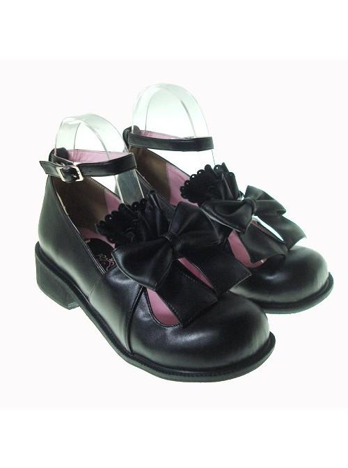 "Black 1.4"" Heel High Cute Patent Leather Round Toe Bow Decoration Platform Lady Lolita Shoes"