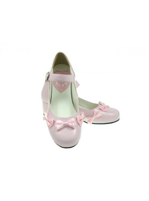 "Pink 1.8"" Heel High Classic Patent Leather Point Toe Cross Straps Platform Women Lolita Shoes"