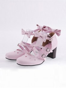 "Pink 2.6"" Heel High Lovely Patent Leather Point Toe Bowknot Platform Women Lolita Shoes"