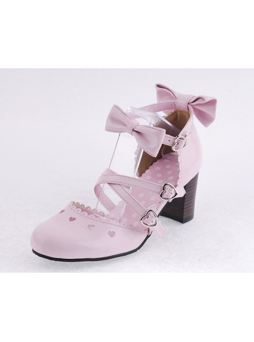"""Pink 2.6"""" Heel High Lovely Patent Leather Point Toe Bowknot Platform Women Lolita Shoes"""
